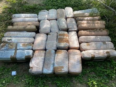 Raft used to ferry a pick-up truck full of weed across the Rio Grande River into the U.S.