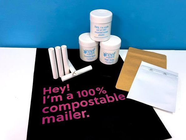 Aqualitas selection of sustainable packaging - ocean sourced jars, 100% compostable mailer, pre-roll bags.
