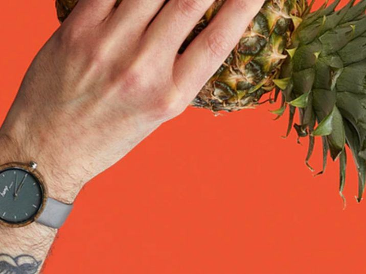 The watch is made from hemp fibre and pineapple leather. /