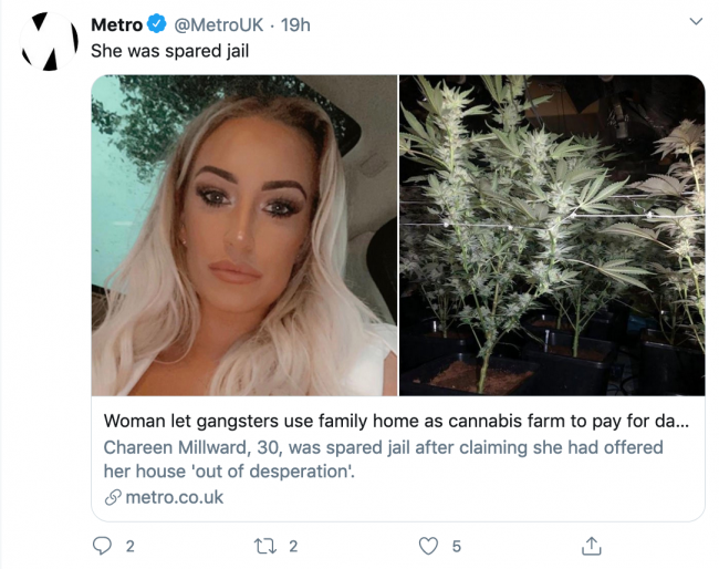 Woman who needed money to pay for father's funeral approached gangsters to set up weed farm in her home
